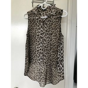 Topshop leopard button-down top